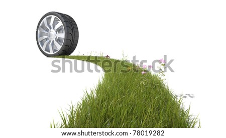 wheel is spreading green grass on white background