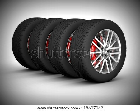 Wheel isolated. 3d illustration. - stock photo