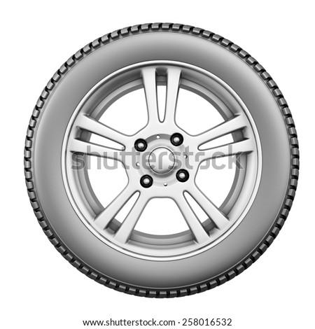 Wheel isolated on white background. 3d illustration. Front view of car wheel isolated on white. - stock photo