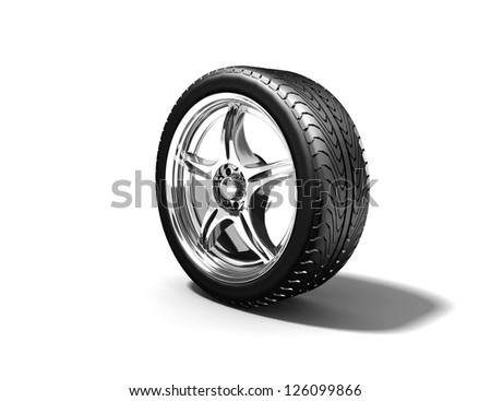 Wheel isolated on white. 3d illustration. - stock photo