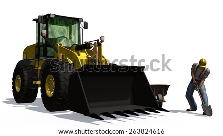 wheel loader behind construction worker with shovel and roadblock isolated on white background - stock photo