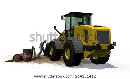 wheel loader bulldozer and construction worker on construction site isolated on white background