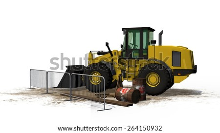 wheel loader bulldozer at construction site isolated on white background - stock photo