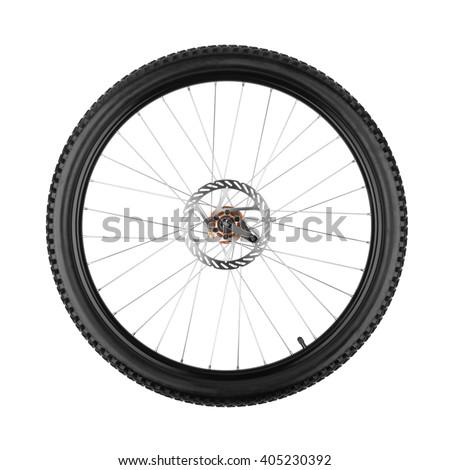 wheel of a mountain bike isolated on white background  - stock photo