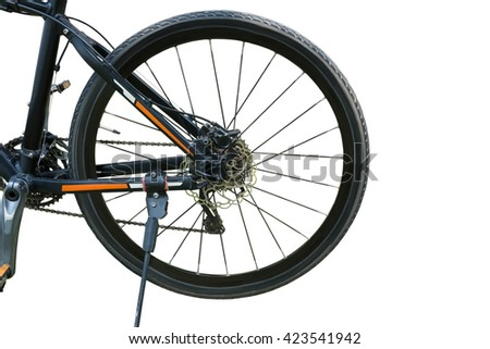wheel of bicycle isolated on white background