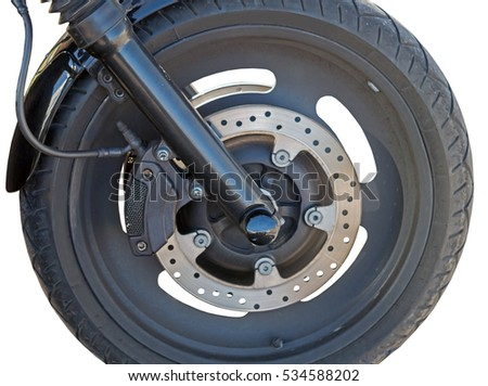 wheel of big motorcycle. Isolated over white