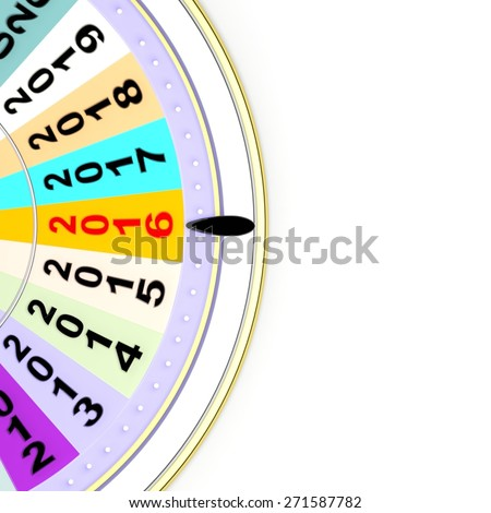 Wheel of fortune with 2016, isolated on white background  - stock photo