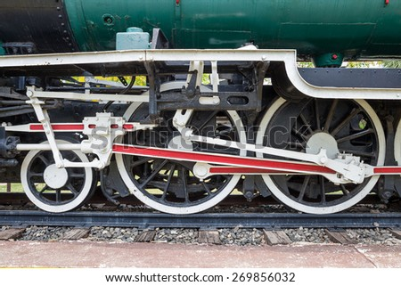 wheel of locomotive on railway, vintage, train - stock photo