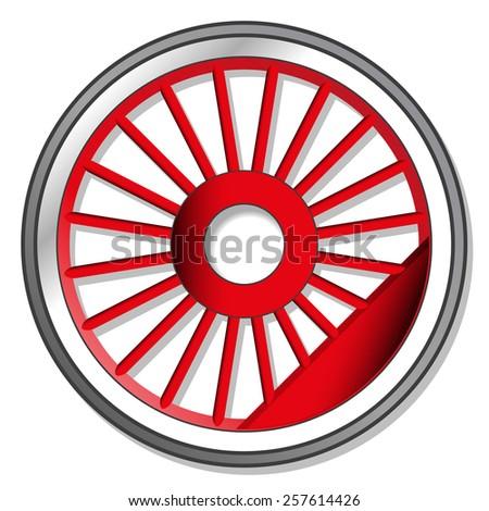 wheel of steam locomotive - stock photo