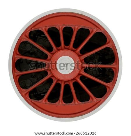 Wheel of steam locomotive isolated on white background - stock photo