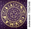 Wheel of Zodiac symbols printed on textile - stock photo