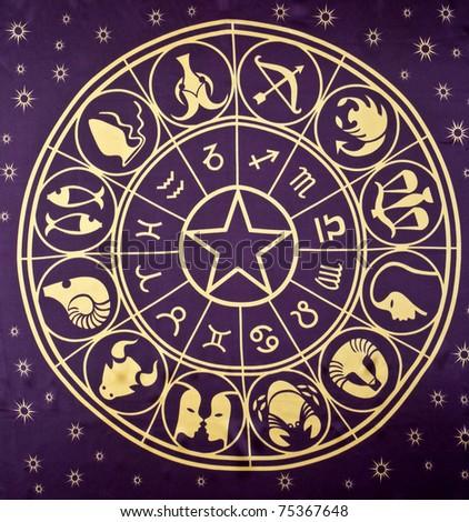 Wheel of Zodiac symbols printed on textile - stock photo