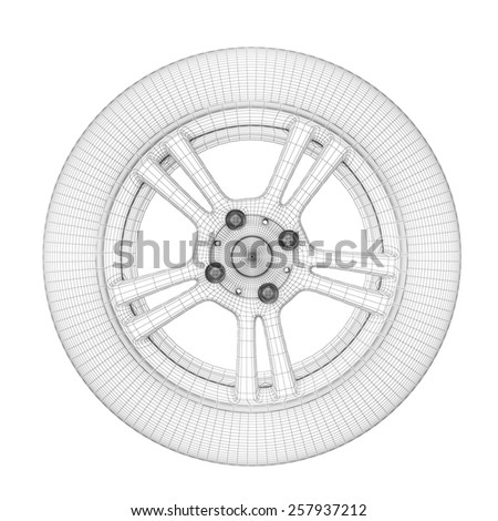 Wheel on a white. Wheel wire model. 3d illustration. - stock photo