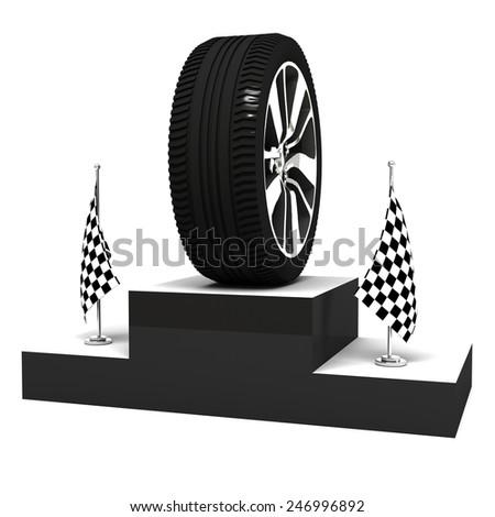 wheel on 3d podium - stock photo