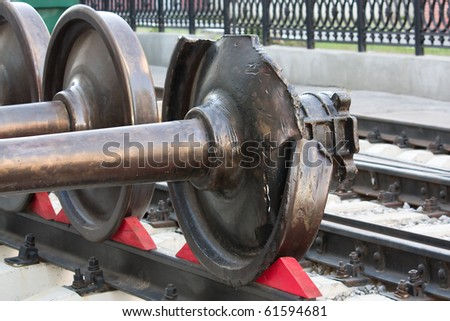 Wheel pair of an electric locomotive - after train wreck