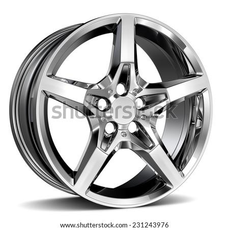 Wheel Rim isolated on white - stock photo