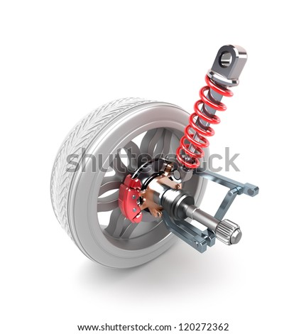 Wheel, shock absorber and brake pads over white - stock photo