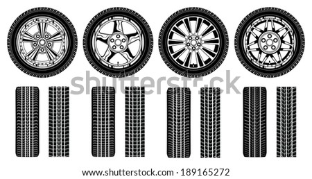 Wheel - Tires Alloy Rims and Tire Tracks is an illustration of four tires, alloy rims and tire tracks in a black and white graphic style. - stock photo