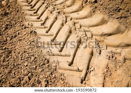 Wheel tracks on dirt - stock photo