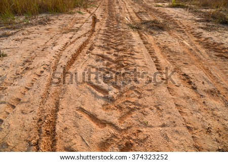 wheel tracks on dirt road