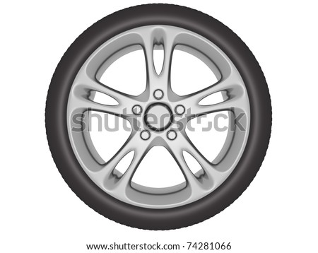 Wheel with aluminum rim isolated over a white background. 3d illustration
