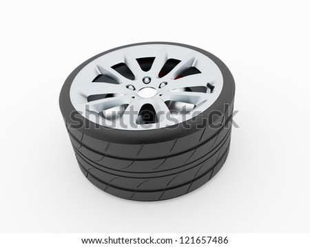 Wheel with disc isolated on whiteWheel backgrounds - stock photo