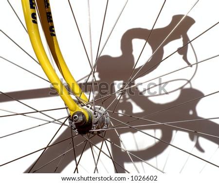 Wheel with shadow of the racing bike horizontal - stock photo