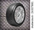 Wheel with steel rim - stock photo