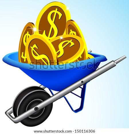 wheelbarrow and money, abstract art illustration - stock photo