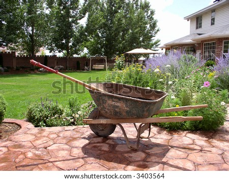 wheelbarrow and rake in a backyard garden - stock photo