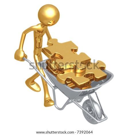 Wheelbarrow Full Of Puzzle Pieces - stock photo
