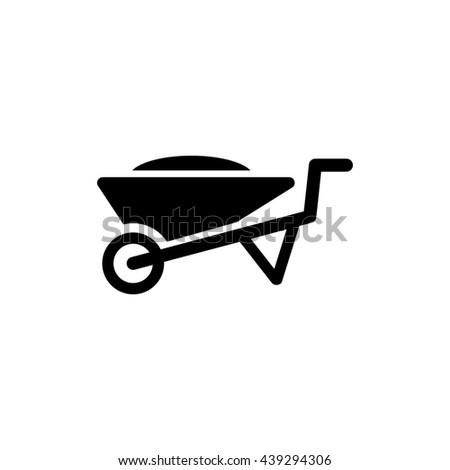 Wheelbarrow icon. Silhouette flat design cart symbol. Illustration - stock photo