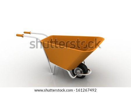wheelbarrow isolated on white - stock photo