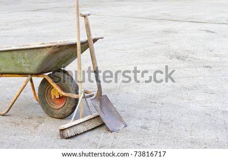 Wheelbarrow with tools