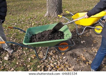 Wheelbarrows containing newly shoveled soil - stock photo