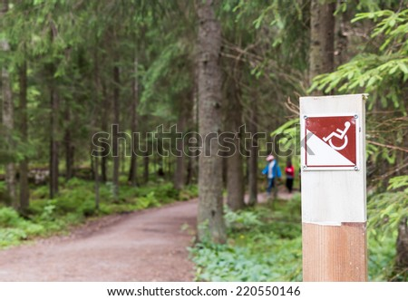 Wheelchair accessible hiking path in a national park in Finland - stock photo