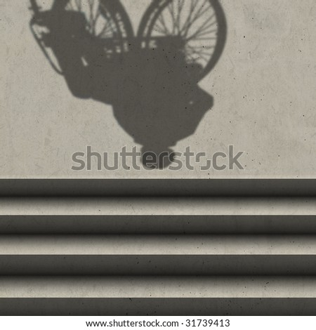 wheelchair and stairs (shadow) - stock photo