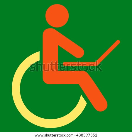Wheelchair glyph icon. Style is bicolor flat icon symbol with rounded angles, orange and yellow colors, green background.