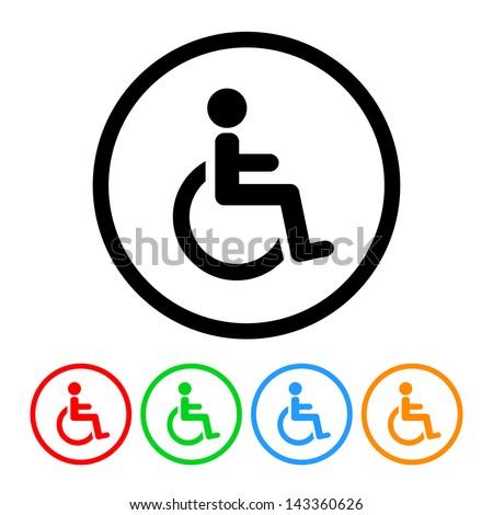 Wheelchair Handicap Symbol Icon - Raster Version.Vector Also Available - stock photo