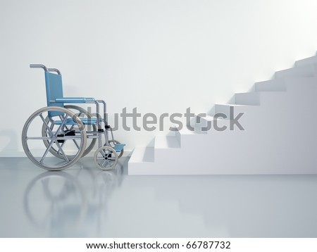Wheelchair in front of stairs - this is a 3d render illustration