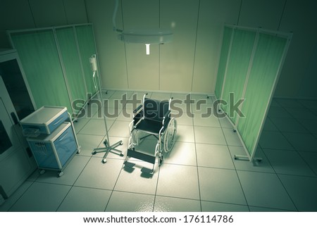 Wheelchair in hospital room - high quality render - stock photo