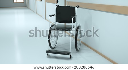 Wheelchair in the long hospital corridor, front view. 3d render - stock photo
