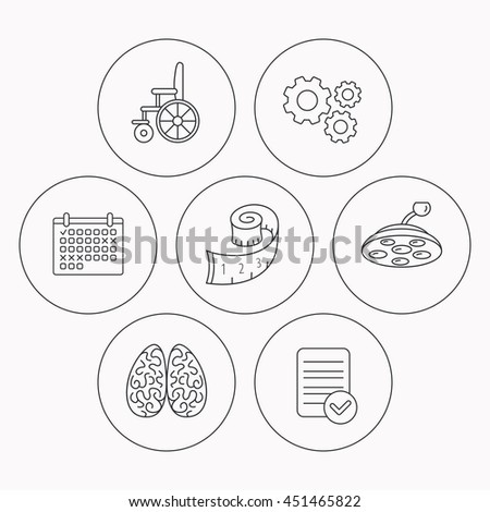 Wheelchair, neurology and weight loss icons. Surgical lamp linear sign. Check file, calendar and cogwheel icons.  - stock photo