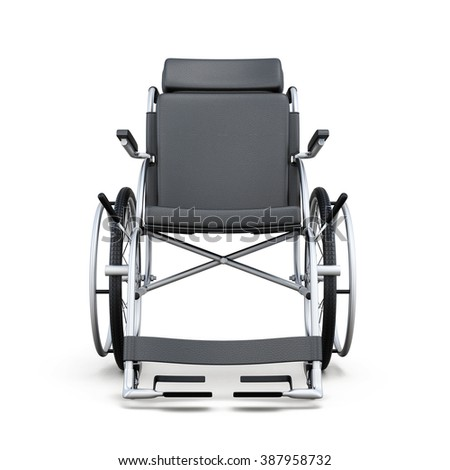 Wheelchair on a white background. Rear view. 3d rendering. - stock photo