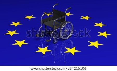 Wheelchair on European union flag