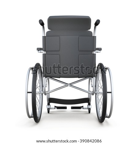 Wheelchair, rear view, isolated on a white background. 3d render image. - stock photo