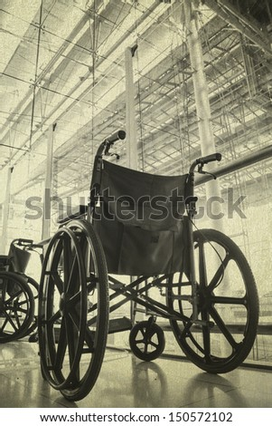 Wheelchair service in airport terminal vintage background