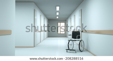 Wheelchair standing in an empty hospital corridor. 3d render - stock photo