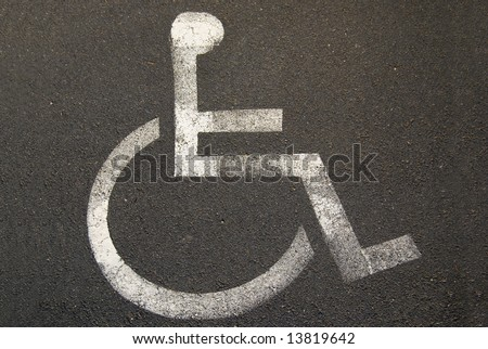 Wheelchair symbol for a disabled parking spot
