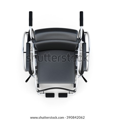 Wheelchair, top view, isolated on a white background. 3d rendering. - stock photo